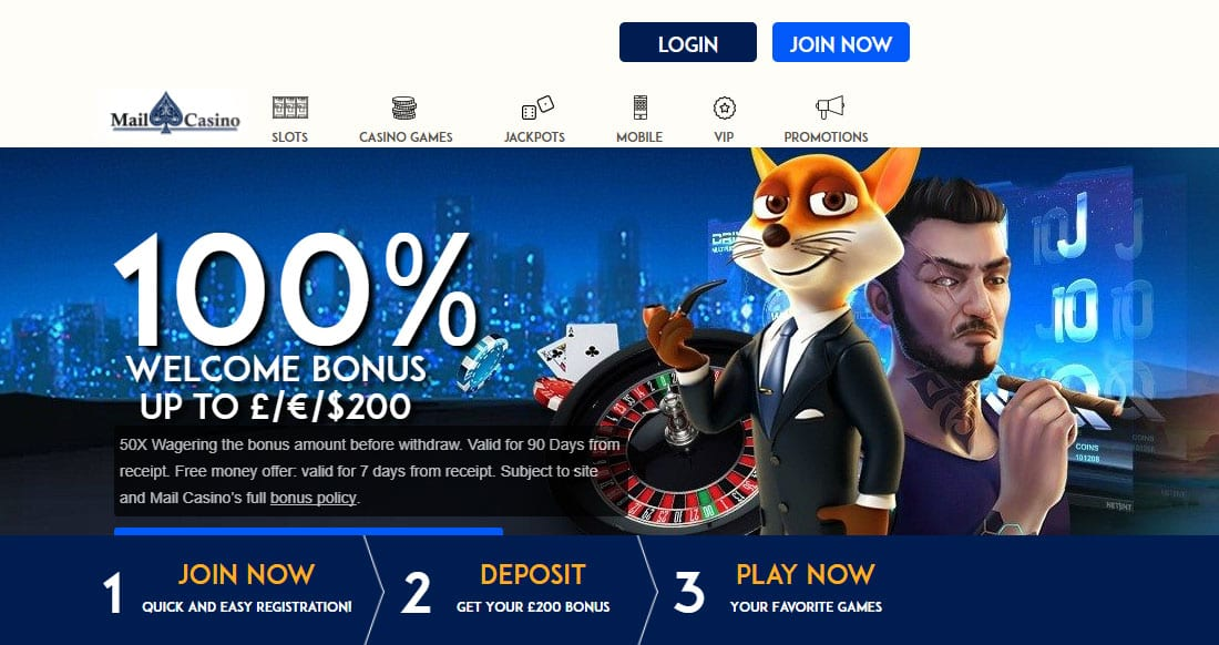 100% Welcome Bonus from Mail Casino