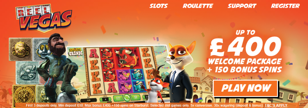 £400 Welcome Package with Up to 150 Bonus Spins!