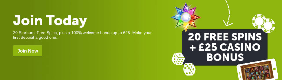 Get 20 FREE Spins PLUS £25 Welcome Bonus