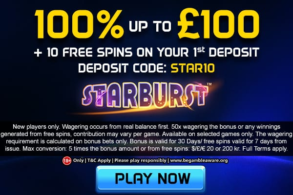 100% up to £100 Welcome Bonus Offer